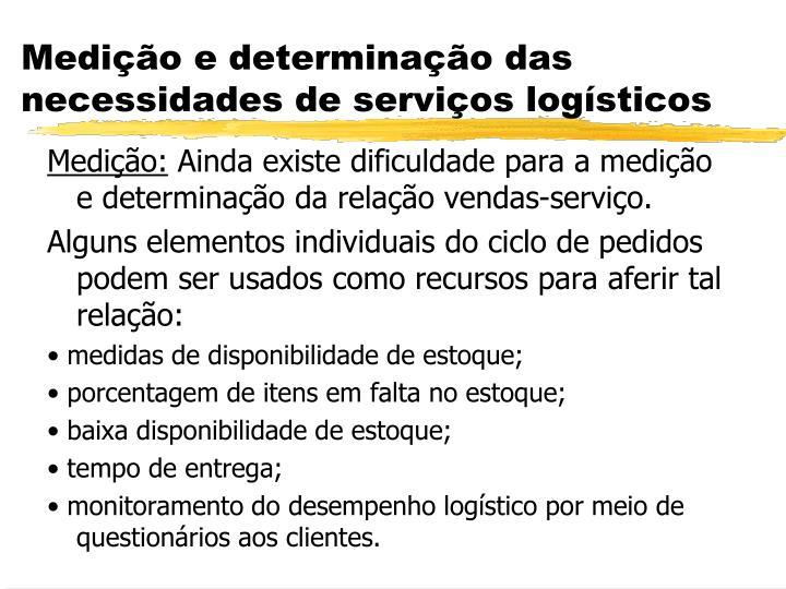 Medição e determinação das necessidades de serviços logísticos