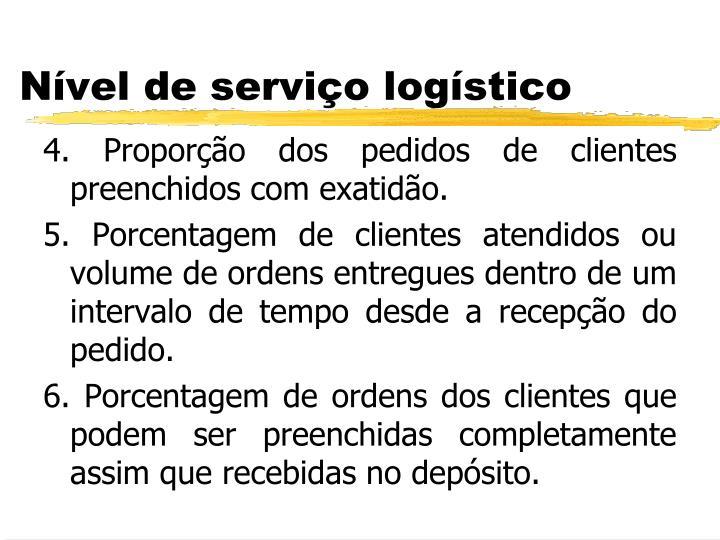 4. Proporção dos pedidos de clientes preenchidos com exatidão.