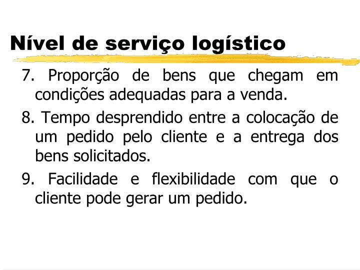7. Proporção de bens que chegam em condições adequadas para a venda.