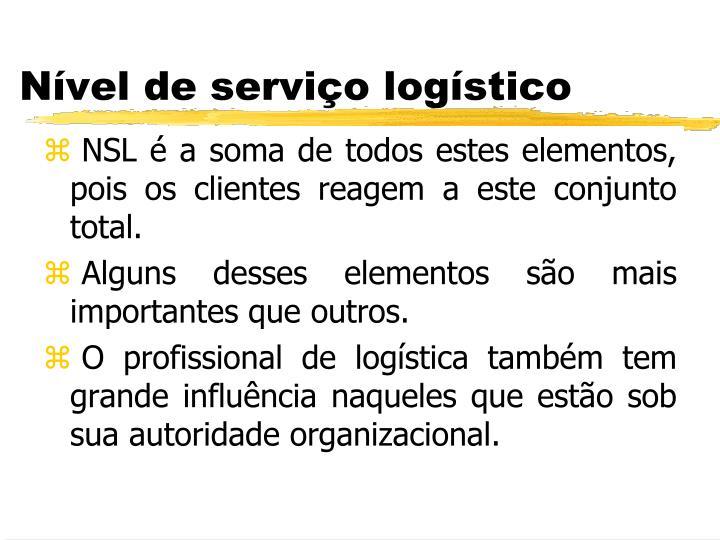 NSL é a soma de todos estes elementos, pois os clientes reagem a este conjunto total.
