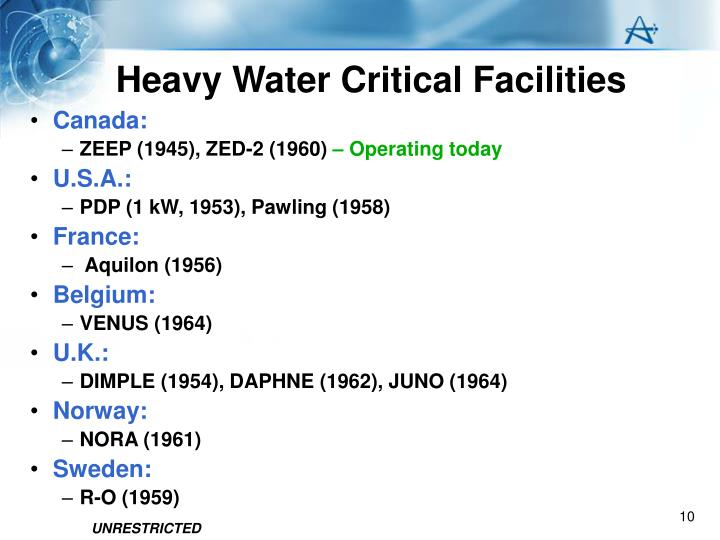 Heavy Water Critical Facilities