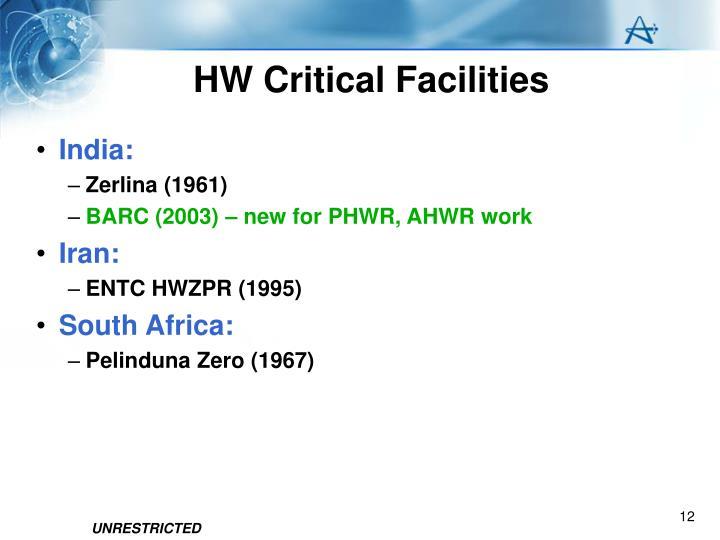 HW Critical Facilities