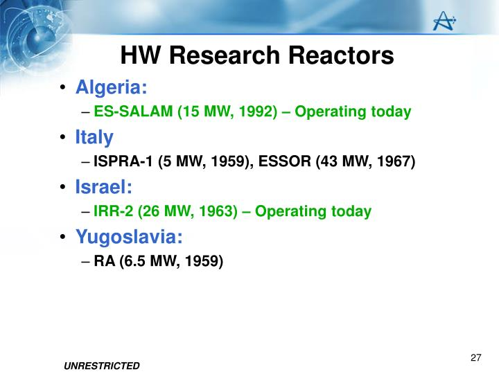 HW Research Reactors