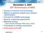 november 3 2007 50 th anniversary of nru