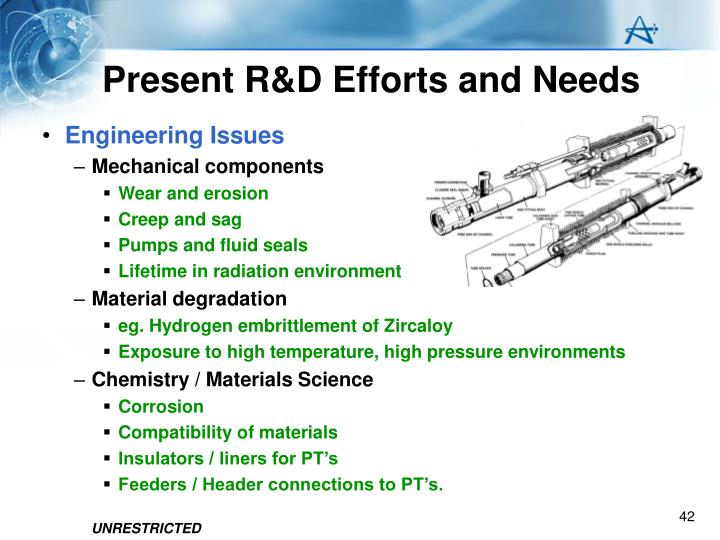 Present R&D Efforts and Needs
