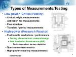 types of measurements testing