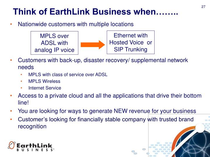 Think of EarthLink Business when……..