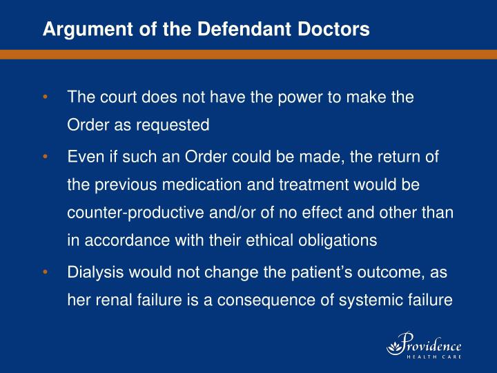Argument of the Defendant Doctors