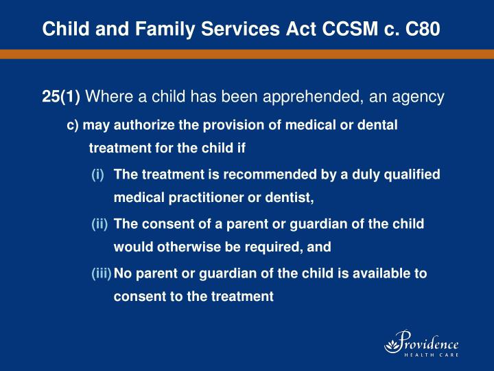 Child and Family Services Act CCSM c. C80