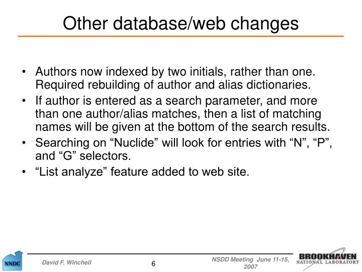 Authors now indexed by two initials, rather than one. Required rebuilding of author and alias dictionaries.