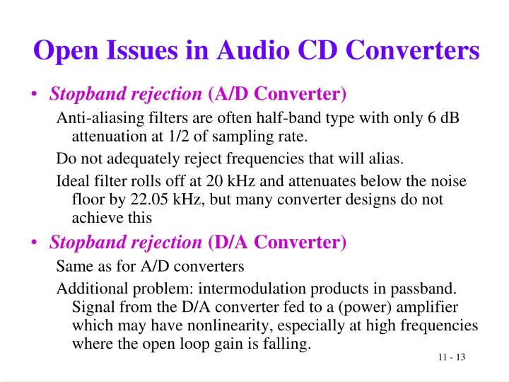 Open Issues in Audio CD Converters