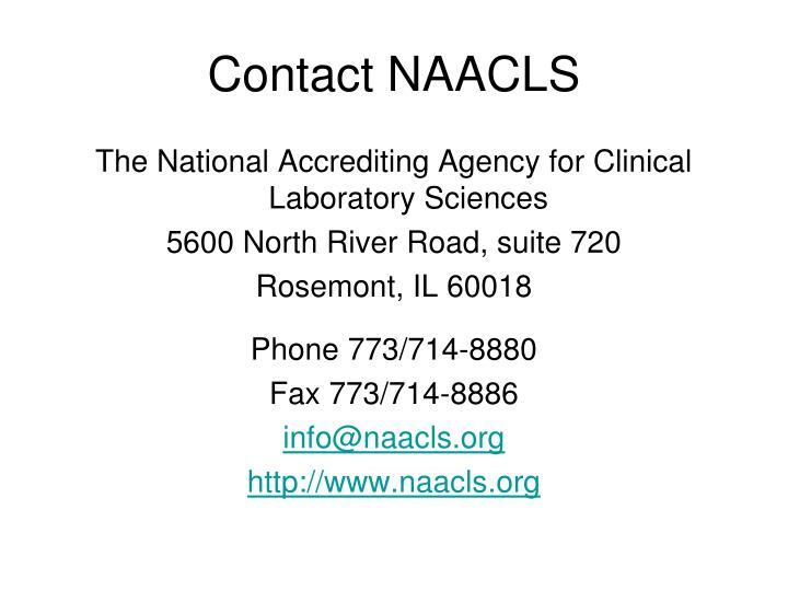 Contact NAACLS