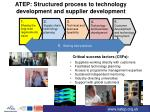 atep structured process to technology development and supplier development