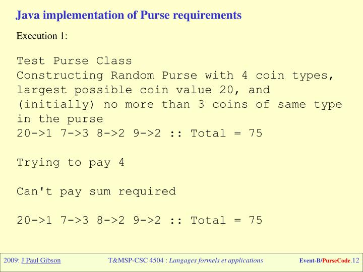 Java implementation of Purse requirements