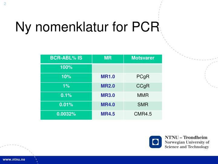 Ny nomenklatur for PCR