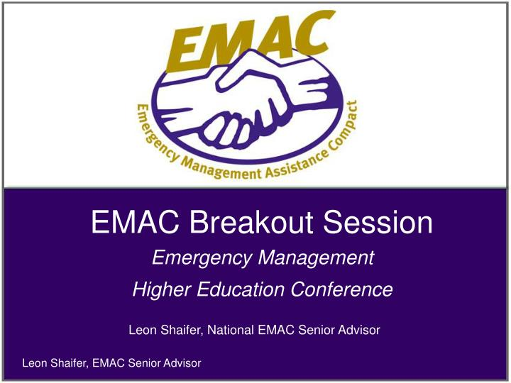 EMAC Breakout Session