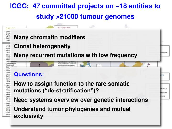 ICGC:  47 committed projects on ~18 entities to study >21000 tumour genomes