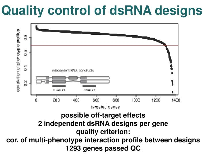 Quality control of dsRNA designs