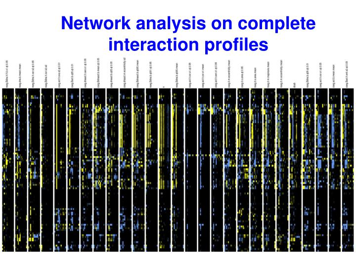 Network analysis on complete interaction profiles