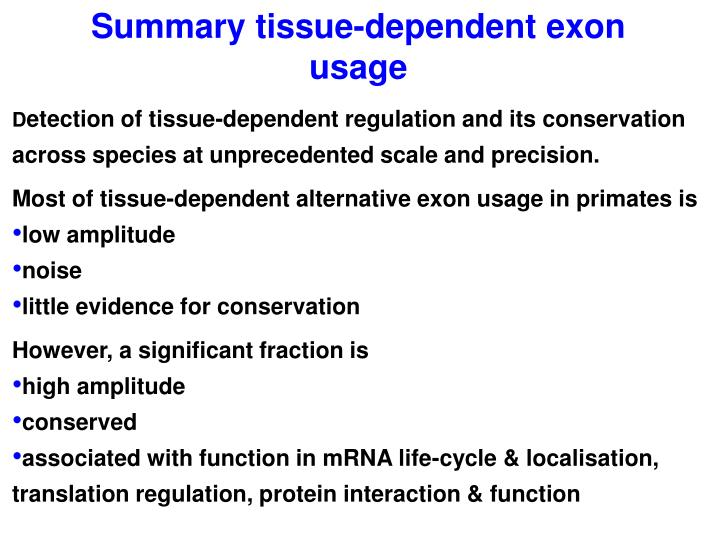 Summary tissue-dependent exon usage