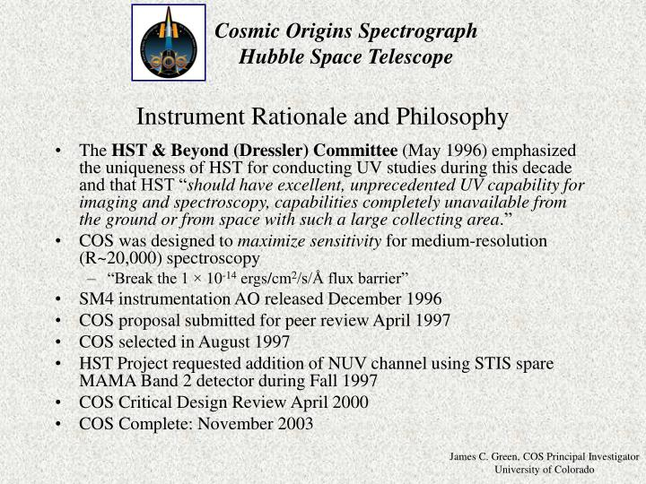 Instrument Rationale and Philosophy