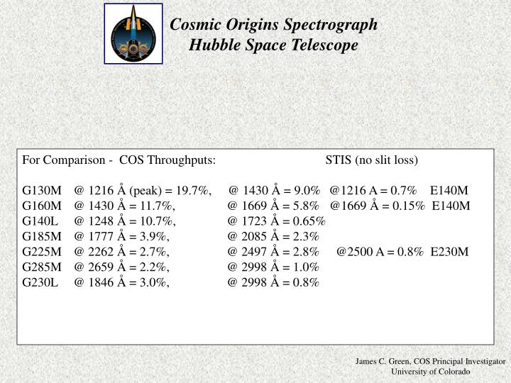 For Comparison -  COS Throughputs:               STIS (no slit loss)