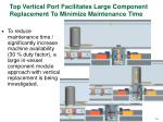 top vertical port facilitates large component replacement to minimize maintenance time