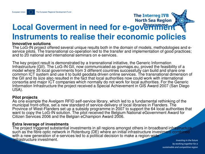 Local Goverment in need for e-government Instruments to realise their economic policies