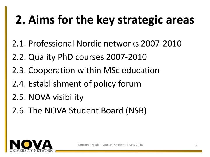 2. Aims for the key strategic areas
