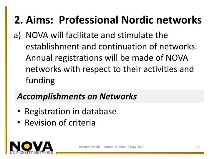 2. Aims:  Professional Nordic networks
