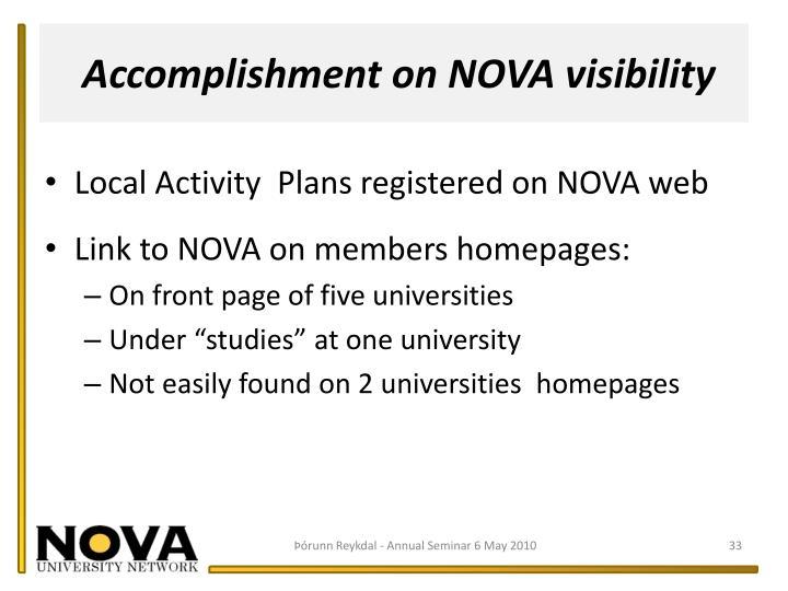 Accomplishment on NOVA visibility