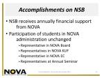 accomplishments on nsb
