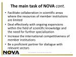 the main task of nova cont