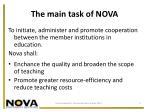 the main task of nova