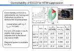 controllability of eccd for ntm suppression