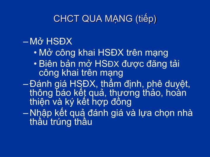 CHCT QUA MẠNG (