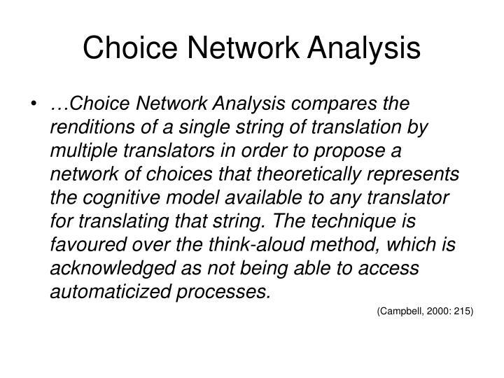 Choice Network Analysis