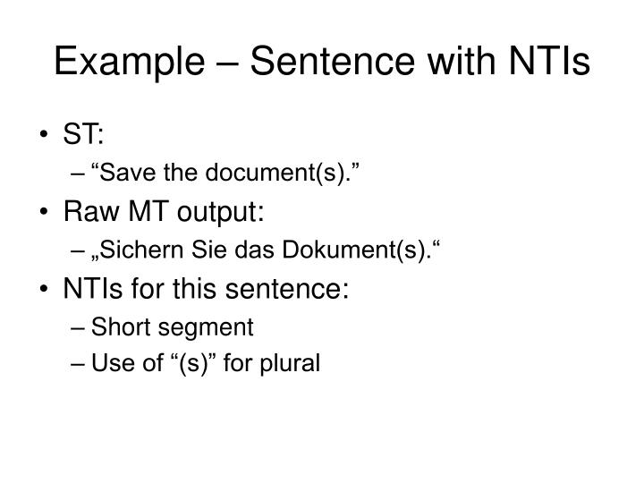 Example – Sentence with NTIs