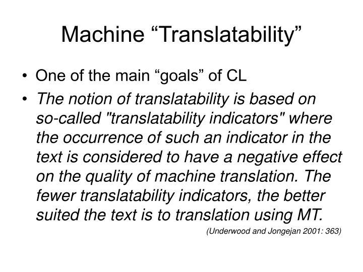 "Machine ""Translatability"""