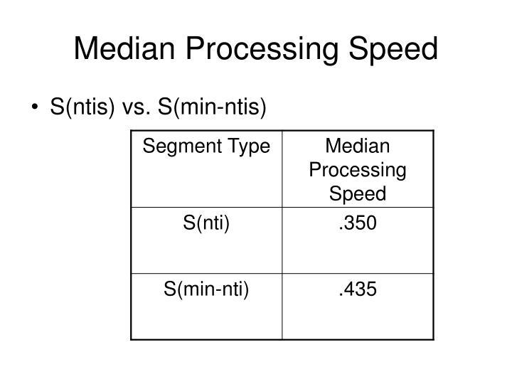 Median Processing Speed