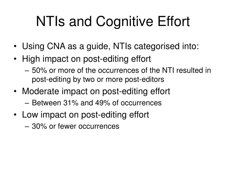 NTIs and Cognitive Effort