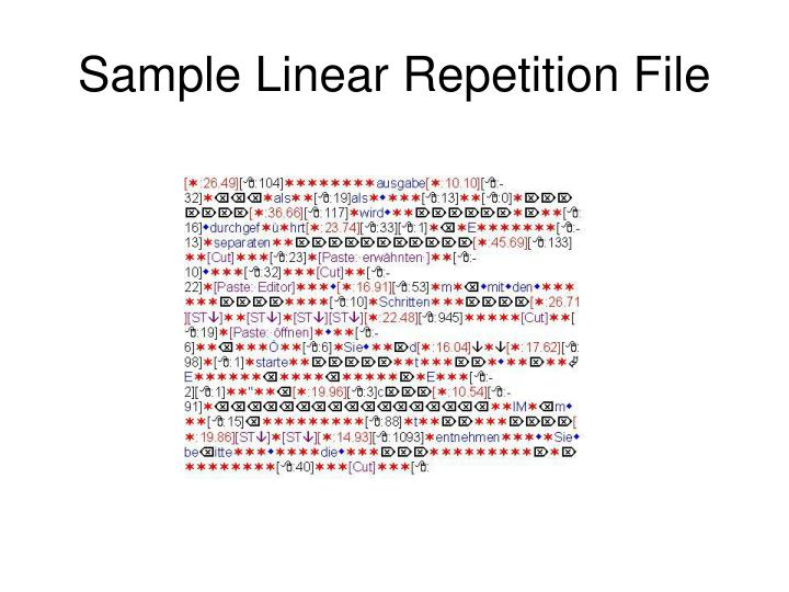 Sample Linear Repetition File