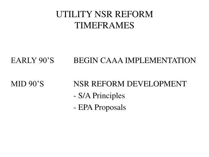 UTILITY NSR REFORM