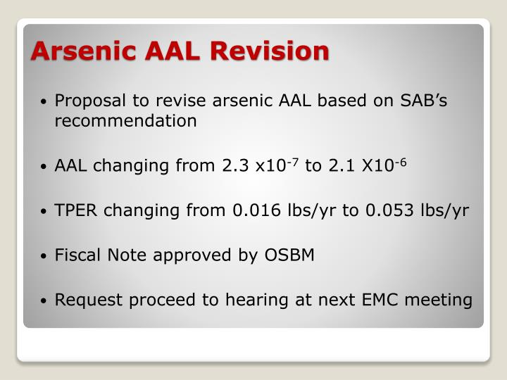 Proposal to revise arsenic AAL based on SAB's recommendation