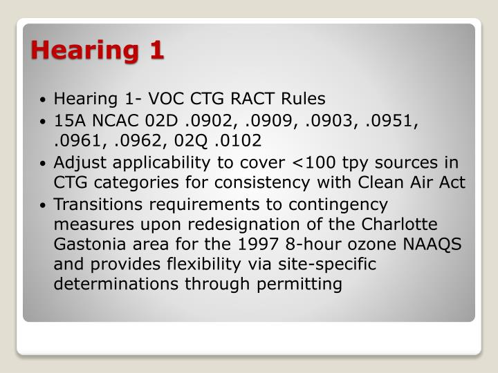 Hearing 1- VOC CTG RACT Rules