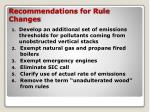 recommendations for rule changes