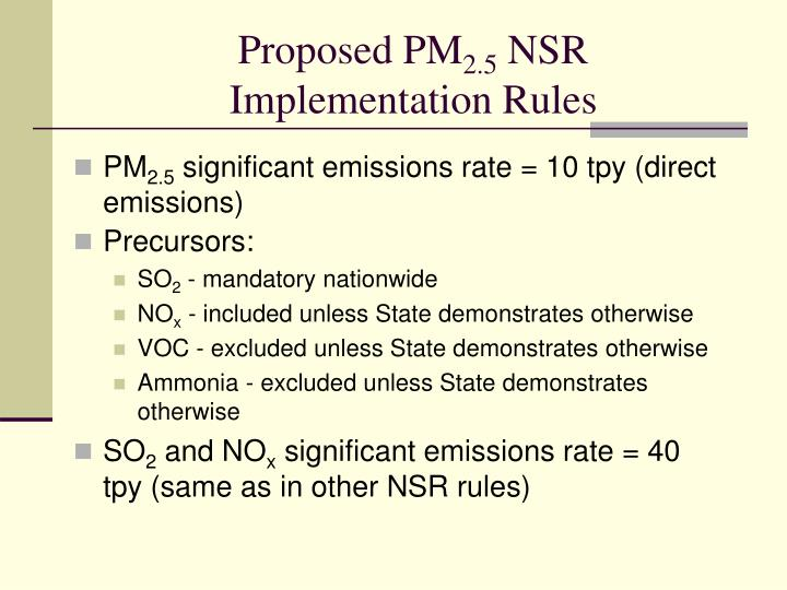 Proposed pm 2 5 nsr implementation rules