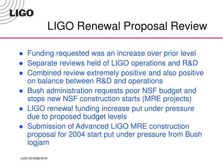 LIGO Renewal Proposal Review