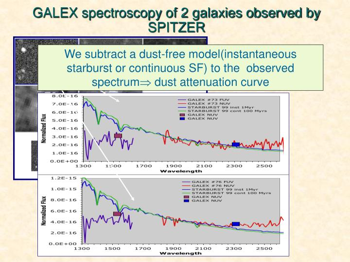 GALEX spectroscopy of 2 galaxies observed by SPITZER