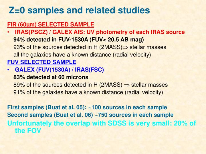 Z=0 samples and related studies